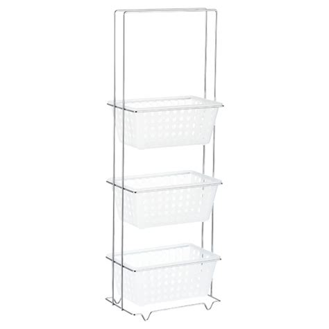 tier bathroom storage tower translucent chrome 3 tier storage tower the container store