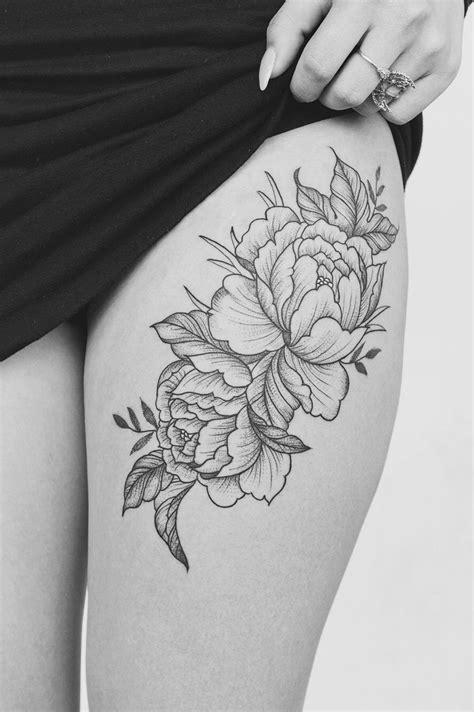 peonie tattoo peonie thigh tatting