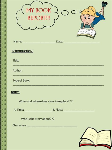 book report summary a book report template is used to write brief summary