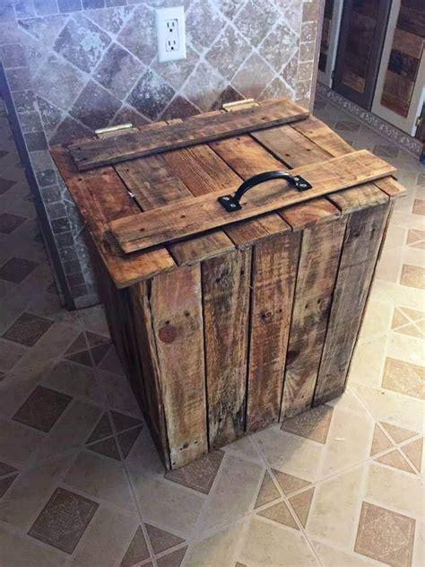 diy pallet trash can cabinet diy wood pallet trash bin 99 pallets