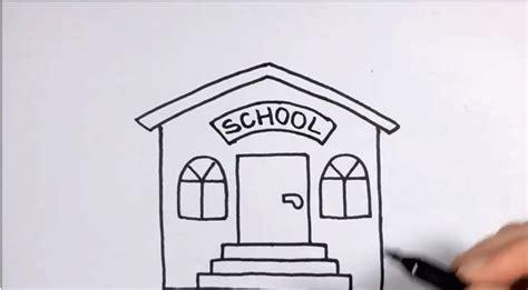 Tutorial Menggambar Gedung | menggambar gedung sekolah untuk anak usia dini tk dengan