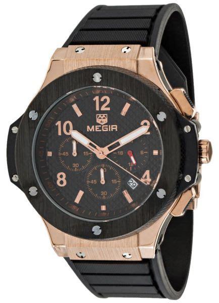 buy megir s black chronograph rubber band