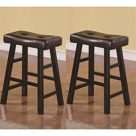 Black Brown Stool by Saddle Black Brown 24 Inch Biecast Leather Counter Height