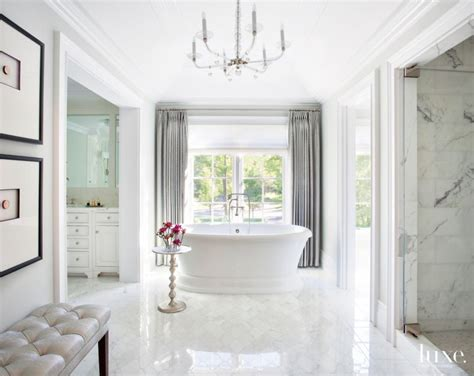 traditional white bathrooms traditional white bathroom with metallic tufted bench