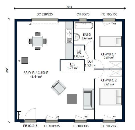 Plan De Maison Plain Pied 2 Chambres 3338 by Plan Maison 70m2 2 Chambres Plain Pied