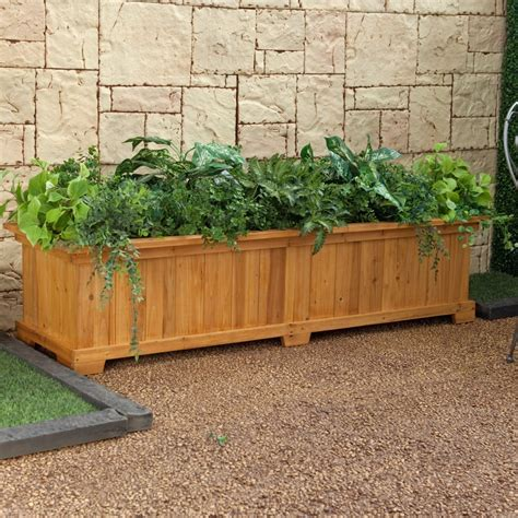 rectangular cedar wood aster patio planter box planter