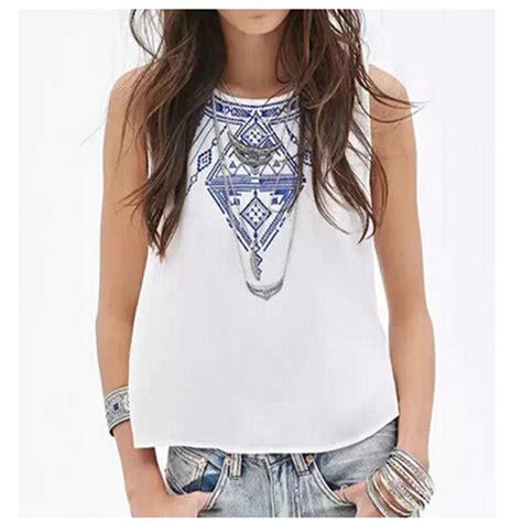 21384 White Casual Top s embroidery white tops casual o neck sleeveless shirt slim top low price in t shirts