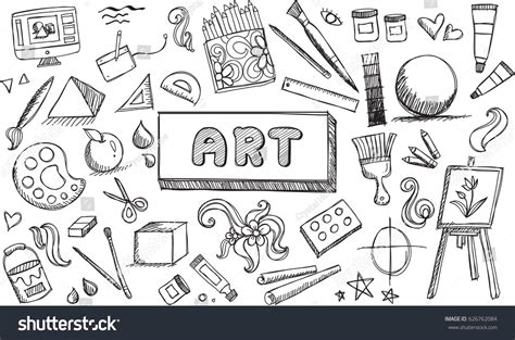 doodle create tools black white stationary doodle stock vector
