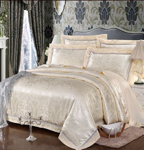 Jacquard Bed Set Beige Jacquard Satin Silk Bedding Set King Size 4pcs Luxury Lace Princess Duvet Quilt