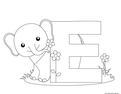 E Coloring Page Printable by Printable Alphabet Letter E Activity Worksheet For