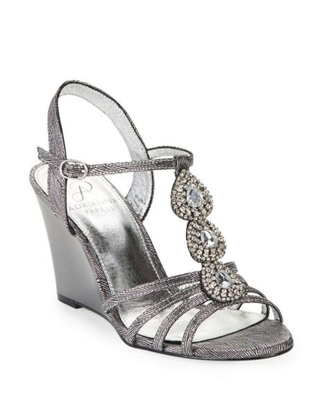 silver wedge sandals with rhinestones papell kristen rhinestone wedge sandals in silver