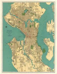 map of seattle antique map vintage map by ancientshades