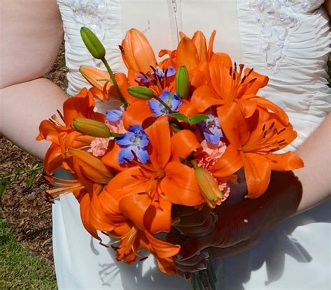 Bouquet Tiger tiger lilies and blue delphinium make a beautiful fall wedding bouquet fall wedding and