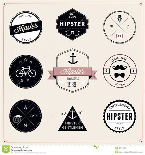 hipster design elements vector set of vintage styled design hipster icons vector stock