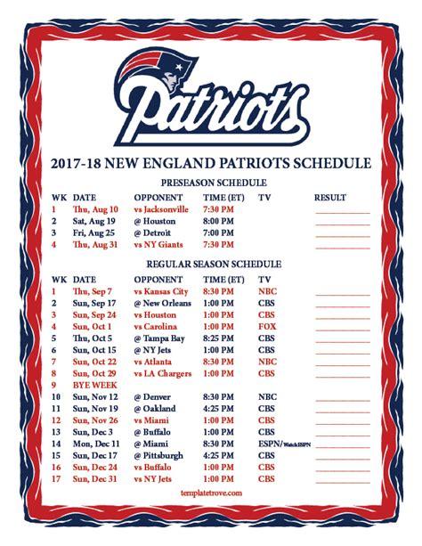 printable nfl patriots schedule printable 2017 2018 new england patriots schedule