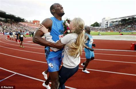 pictures of usain bolt house usain bolt crashes into a flower girl at the end of his 100 m sprint in oslo