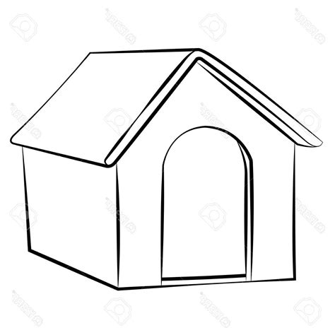dog house sketch best outline sketch dog house vector illustration stock white image