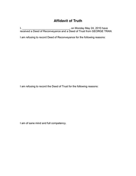 affidavit of truth in word and pdf formats