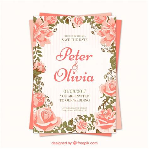 Pretty Wedding Invitations by Pretty Roses Wedding Invitation Vector Free