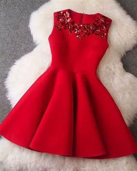 dress red dress embroidered holiday season sleeveless