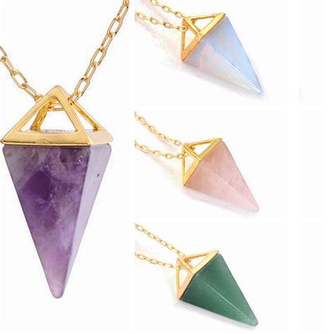 Triangle Quartz Necklace quartz necklace triangle amethyst clear