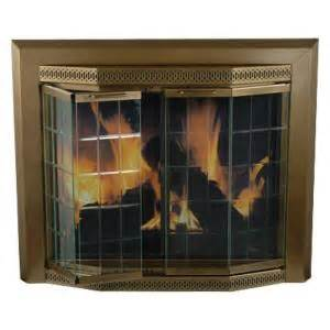 pleasant hearth grandior bay large glass fireplace doors