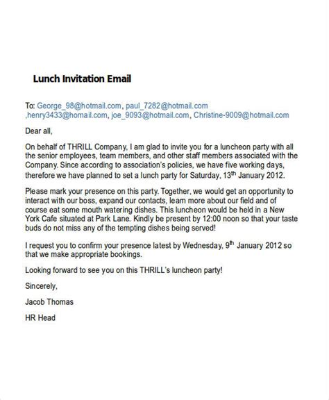 Business Lunch Invitation Hunecompany Com Lunch Invitation Email Template