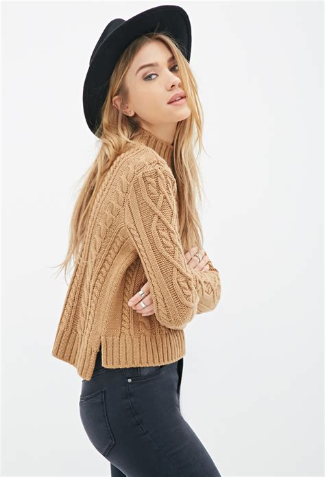 forever 21 cable knit sweater forever 21 cable knit mock neck sweater in brown lyst