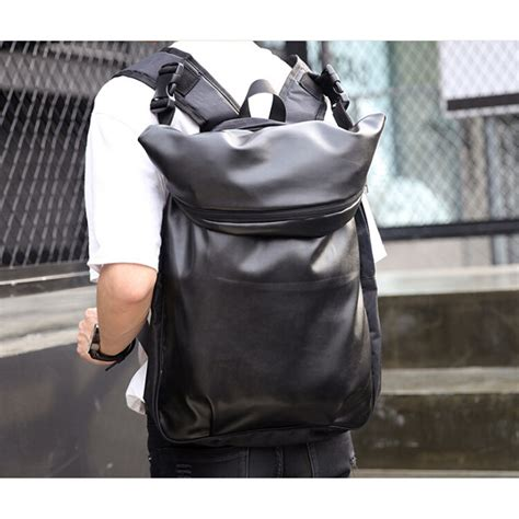 tas ransel korean style city pu leather backpack black jakartanotebook
