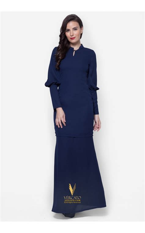 Baju Raya Warna Navy Blue baju kurung with balloon sleeves vercato azra in navy blue