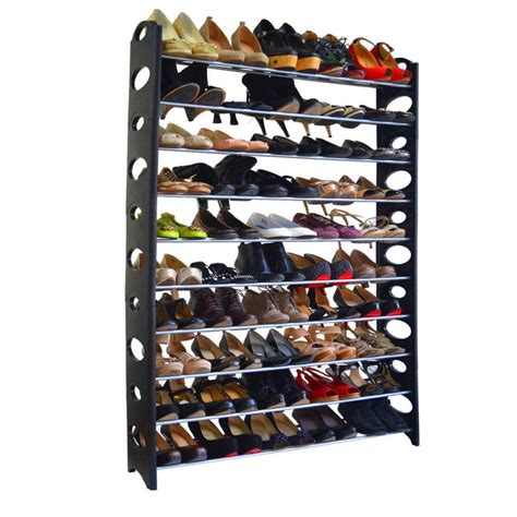 Shoe Rack For Closet Wall by 10 Tier Shoe Rack For 50 Pair Wall Bench Shelf Closet