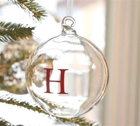 monogrammable glass globe ornament traditional