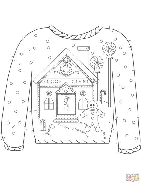 printable ugly christmas sweater christmas ugly sweater with gingerbread man motif coloring
