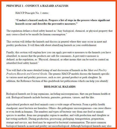 haccp plan template pdf sle haccp plan program format