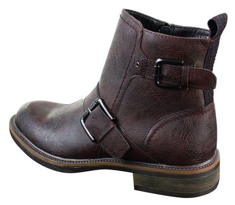 slip on biker boots mens rock elmo ankle slip on zip cowboy biker