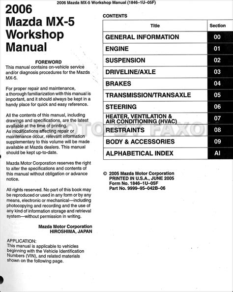 2006 mazda mx 5 miata repair shop manual original