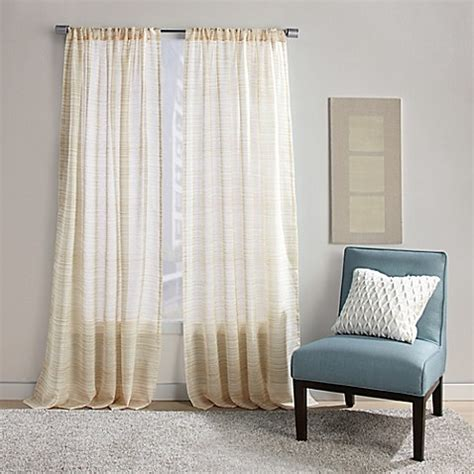 Striped Window Curtains Buy Stripe 63 Inch Rod Pocket Sheer Window Curtain Panel In Yellow From Bed Bath Beyond