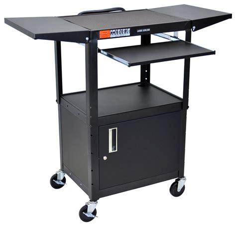 multimedia cart with locking cabinet av carts w locking media cabinet shelves that fold up