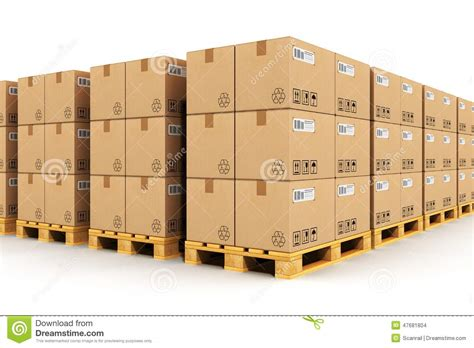 Warehouse No Background Check Warehouse With Cardbaord Boxes On Shipping Pallets Stock Illustration Image 47681804