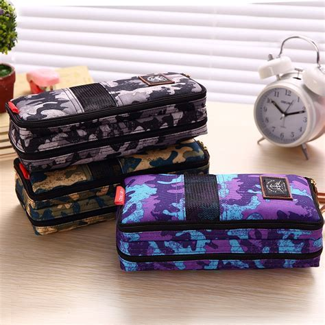 HOT large Canvas School Pencil case Bag Box for Girls Boys