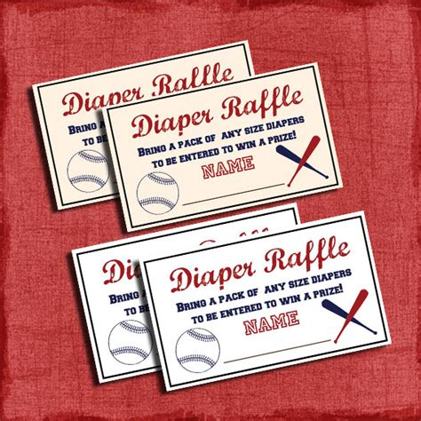 printable baseball baby shower raffle tickets by