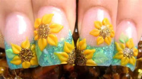 imagenes de uñas decoradas girasoles co de girasoles mis u 241 as acrilicas con brillantina