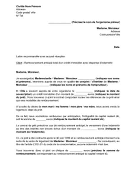 lettre de remboursement anticip 233 d un cr 233 dit immobilier