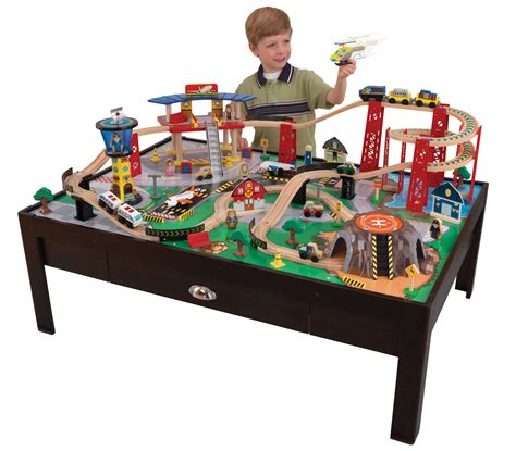 train set and table kidkraft airport express espresso wood train table w 100