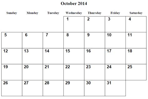 printable calendar grid 2014 october 2014 calendar printable 2 printable calendar