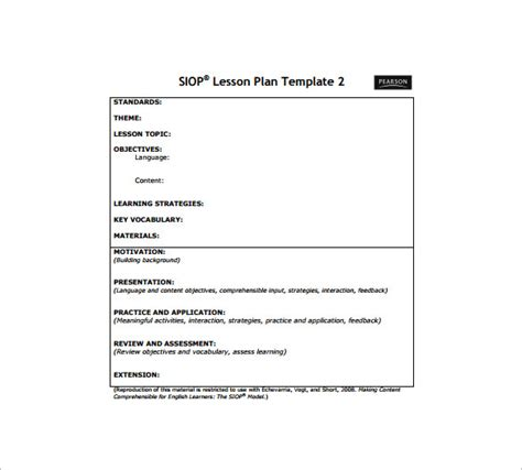 siop lesson plan templat siop lesson plan template free word pdf documents