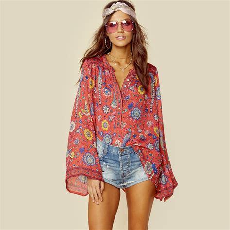 Hippie Top by מוצר Boho Blouse 2017 Autumn Birds Floral Print