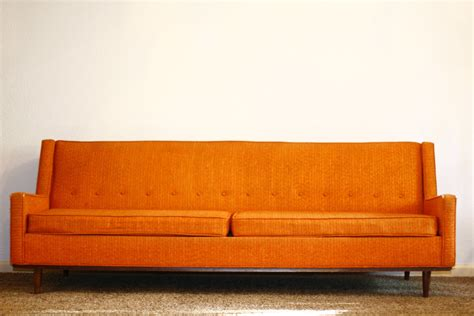 vintage orange couch   Fort Worth Vintage