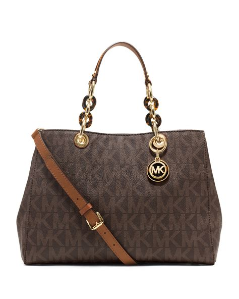 M Hael Kors Cynthia michael michael kors medium cynthia logo satchel in brown