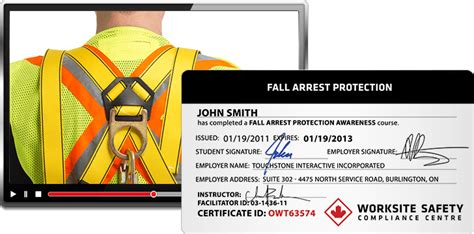 Fall Protection Worksite Safety Fall Protection Certificate Template